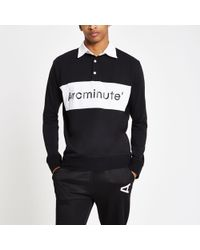 River Island - Arcminute Logo Long Sleeve Rugby Shirt - Lyst