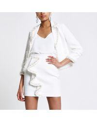 River Island - White Boucle Frill Pearl Mini Skirt - Lyst