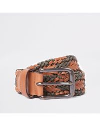 River Island - Brown And Khaki Woven Belt - Lyst