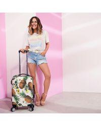 River Island - Cream Caroline Flack Four Wheel Suitcase - Lyst