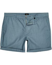 River Island - Teal Green Slim Fit Chino Shorts - Lyst