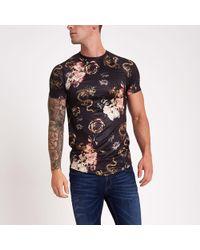 River Island - Black Dragon Print Muscle Fit T-shirt - Lyst
