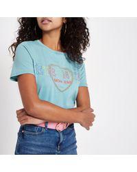 River Island - Turquoise 'eternite' Short Sleeve T-shirt - Lyst