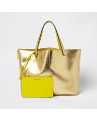 River Island | Gold Metallic Beach Tote Bag Gold Metallic Beach Tote Bag | Lyst