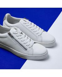 River Island - White Side Zip Lace-up Trainers - Lyst