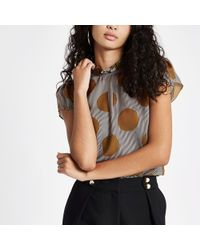 River Island - Brown Stripe And Spot Print Frill Neck Top - Lyst