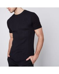 River Island - Black Rib Muscle Fit Longline T-shirt - Lyst