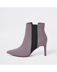 River Island - Check Print Pointed Slim Square Heel Boot - Lyst