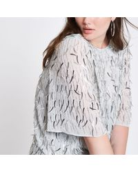 River Island - Plus Silver Sequin Embellished Top - Lyst
