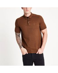 River Island - Brown Slim Fit Knitted Polo Shirt Brown Slim Fit Knitted Polo Shirt - Lyst