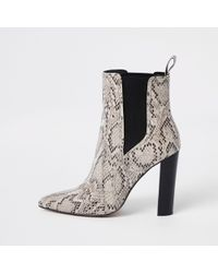 River Island - Light Snake Block Heel Boots - Lyst