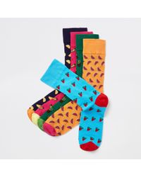 River Island - Pink Fruit Print Socks Multipack - Lyst