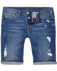River Island | Mid Blue Wash Skinny Ripped Denim Shorts | Lyst