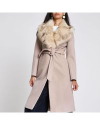 River Island - Belted Faux Fur Robe Coat - Lyst