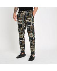 River Island - Black Print Smart Trousers - Lyst