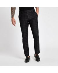 River Island - Black And Burgundy Check Skinny Suit Trousers - Lyst