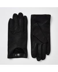 River Island - Black Leather Driving Gloves - Lyst