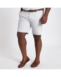 River Island - Big And Tall Stone Belted Chino Shorts - Lyst