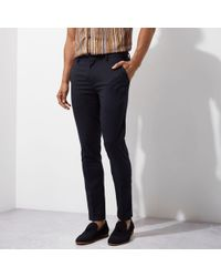 River Island - Navy Ultra Skinny Fit Smart Trousers - Lyst