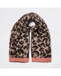 River Island - Leopard Print Scarf - Lyst