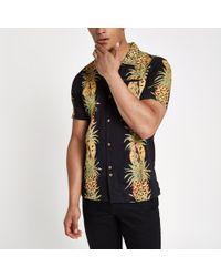 Bellfield - Black Pineapple Print Shirt - Lyst