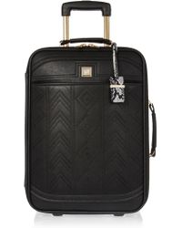 River Island - Black Embroidered Suitcase - Lyst