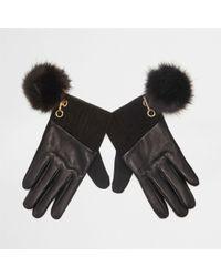 River Island - Black Leather Pom Pom Gloves - Lyst