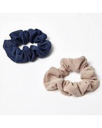 River Island - Pink And Denim-look Scrunchies Pack - Lyst
