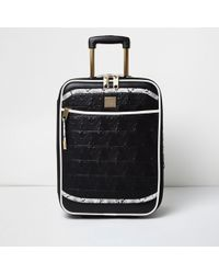River Island - Black Quilted Snake Print Cabin Suitcase - Lyst