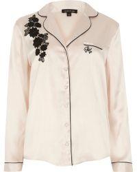 River Island - Cream Applique Pyjama Top - Lyst