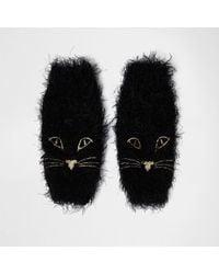 River Island - Black Fluffy Knit Cat Face Handwarmers - Lyst