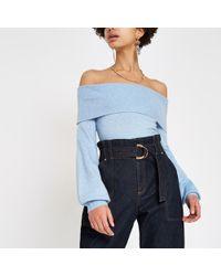 River Island - Blue Bardot Knitted Jumper - Lyst