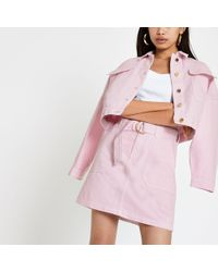 River Island - Pink Utility Denim Skirt - Lyst