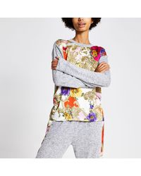 River Island Scarf Print Long Sleeve Pajama Top - Gray
