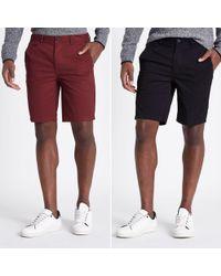 River Island - Black Slim Fit Chino Shorts Multipack - Lyst