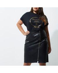 River Island - Plus Black 'paris' Boyfriend Fit T-shirt - Lyst