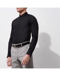 River Island - Black Slim Fit Long Sleeve Smart Shirt - Lyst