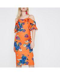 River Island | Orange Floral Cold Shoulder Bodycon Dress Orange Floral Cold Shoulder Bodycon Dress | Lyst