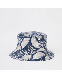 River Island - Navy Tropical Print Bucket Hat - Lyst
