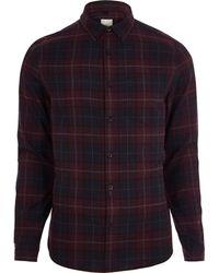 River Island - Burgundy Check Long Sleeve Shirt - Lyst