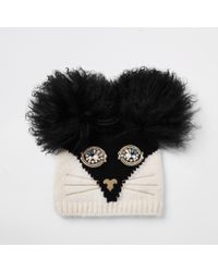 River Island - Ri 30 Black Cat Face Beanie Hat - Lyst