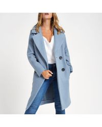 River Island - Petite Blue Long Double Breasted Coat - Lyst