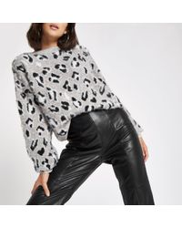 River Island - White Leopard Print Knitted Jumper - Lyst