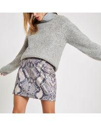 River Island - Snake Print Zip Mini Skirt - Lyst