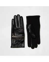River Island - Black Zip Tassel Studded Leather Gloves - Lyst