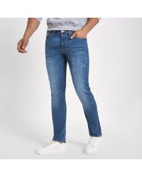 River Island - Big And Tall Blue Dylan Slim Fit Jeans - Lyst