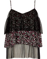 River Island - Black Dobby Mesh Floral Frill Cami Top - Lyst