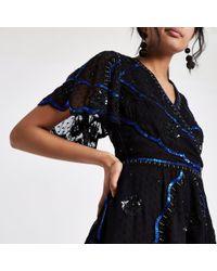 River Island - Black Embellished Wrap Top - Lyst