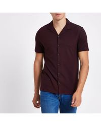 River Island - Dark Red Slim Fit Revere Shirt - Lyst