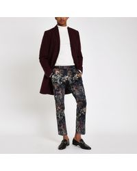 River Island - Black Floral Skinny Cropped Smart Trousers - Lyst
